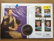1997 50p Falkland Islands QEII 70th Birthday Fifty Pence Coin Cover FDC PNC