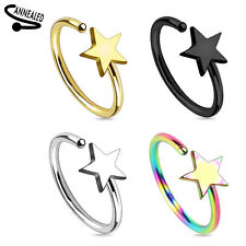 Star Titanium IP on 316L Surgical Steel Annealed Nose Ring 20g