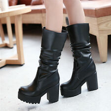 Womens Punk Goth Mid Calf Boots Platform Ruched Pleated Shoes Chunky Heels