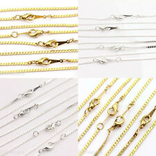 2/10PCS Silver Gold Ring Link Chain 2x1mm Lobster Clasp Necklace Findings 43cm