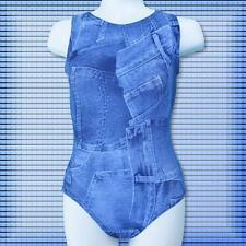 Gymnastics Leotard available Girls sizes 6-16 Graphic Print blue jeans design ca
