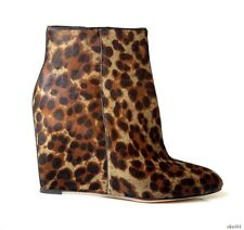 new $550 B BRIAN ATWOOD animal print PONY HAIR  wedge heel ankle BOOTS - sexy