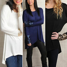 Womens Blouse Pullover Sequin Long Sleeve Casual Shirt Loose Tunic T-shirt Top