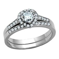 Womens Wedding Rings Heart Cut CZ Stainless Steel Engagement Ring Set Size 5 -10