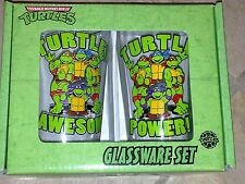 "Teenage Mutant Ninja Turtles TMNT 16oz.Pint Glassware Set of Two 6"" Tall MIB Ne"