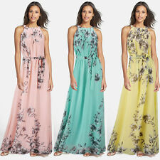Womens Sleeveless Halter Floral Evening Party Cocktail Tunic Chiffon Maxi Dress