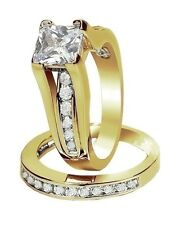 Womens Stainless Steel 14K Plated Gold Wedding Rings Princess 2.10 Ct Size 5 -11