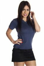 DEALZONE Comfortable V Neck Top L Large Women Blue Casual Short Sleeve