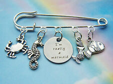 I'M REALLY A MERMAID CHARMS SILVER PIN BROOCH ARIEL THE LITTLE MERMAID H20