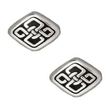 Fine Silver Plated Pewter Long Celtic Diamond Beads 11mm (2)