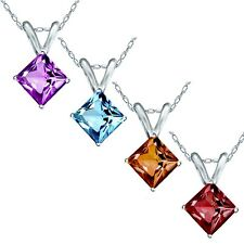 Princess Cut Genuine Gemstone Necklace Pendant With 14k Solid White Gold Chain
