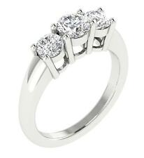 I1/G 0.90Ct Real Diamond 14Kt White Gold Appraisal 3 Stone Engagement Ring Band