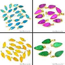 Select Your Color Druzy Gemstone 22x9 mm Pear Shape Pendant, Gold Electroplated