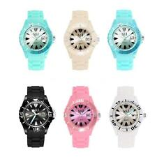 New Women Ladies Soft Jelly Silicone Band Quartz Date Girl Kids Wrist Watch Z4Z6