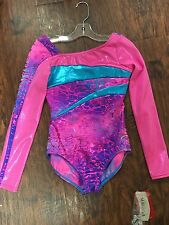 Capezio Sparkly Pink, Blue, and Purple Long Sleeve Child Large Leotard