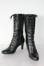 CLARKS LADIES FAB BLACK LEATHER LACE UP BOOTS VICTORIAN STYLE SIZE 5  MUST SEE !