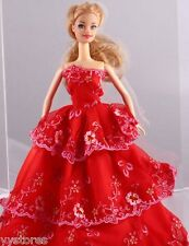Fashion Handmade Barbie Party Red Clothes/Dress/Skirt/Gown For Barbie Doll 098