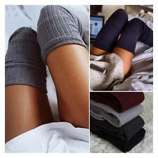 Winter Ladies Soft Cable Knit Leggings Thigh-High Over knee Long Boot Warm Socks
