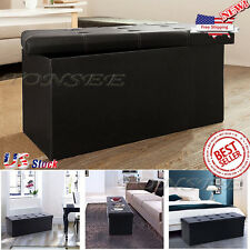 Leather Storage Box Foot Rest Sofa Ottoman Bench Folding Hidden Footrest Stool