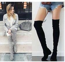 Womens Slouch Flat Over Thigh Knee High Boot Lace Up Pull on Winter Shoes Size 9