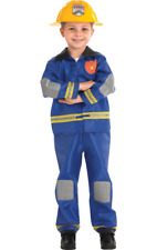Child Fireman Fire Fighter Uniform Boys Party Outfit Fancy Dress Costume