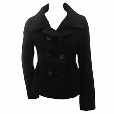 LADIES DOUBLE BREASTED MILITARY STYLE WARM BLACK WINTER JACKET COAT