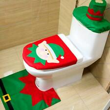 3Pcs/set Elk Elf Santa Toilet Seat Cover Rug Mat Pad Bathroom Christmas Decor