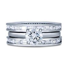 BERRICLE Sterling Silver Round CZ Solitaire Engagement Ring Set 1.99 Carat