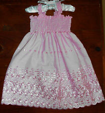 SZ 3 PINK (choices) COTTON SHIRRED TOP DRESS BRAND NEW