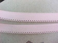 Elastic 3/8 Dainty Picot Edge Pastel PINK or Bright Royal BLUE 5 yds.