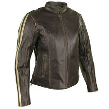 Xelement Womens Armored Dark Brown Leather Motorcycle Jacket with Beige Stripes