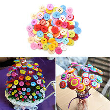 100Pcs Multicolor Sewing Plastic Round Buttons 4 Holes for Kid DIY Crafts LAUS