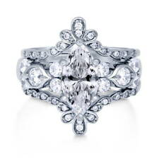 Silver Marquise Cubic Zirconia CZ Solitaire Engagement Ring Set 2.47 CT