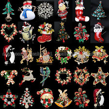 2017 New Year Family Gifts Christmas Snowman Stocking Santa Xmas Tree Brooch Pin