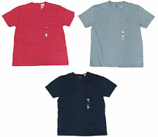 Polo Ralph Lauren Mens Pale Red Cotton V Neck Pony Logo Casual T Tee Shirt New