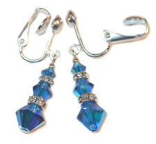 CAPRI BLUE Crystal Earrings Sterling Silver Dangle Swarovski Elements