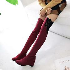 Womens Over Knee Faux Suede Stretch Thigh High Slouchy Heel Boots Shoe NEW Plus