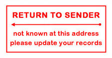 """""""Return to Sender"""" or Custom Business Logo Text Rubber Flash Stamp Self Inking"""