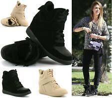 NEW WOMEN LADIES HI TOP WEDGE TRAINERS SNEAKERS PUMPS SPORT ANKLE BOOTS SIZE