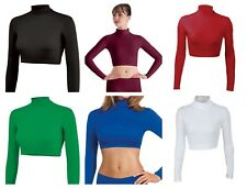 NEW Mock Long Sleeve L/S Dance Fashion Cheer Costume Crop Top Child & Adult