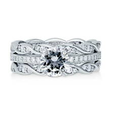 BERRICLE Sterling Silver Round CZ Solitaire Engagement Ring Set 1.66 Carat