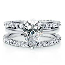BERRICLE Sterling Silver Pear CZ Solitaire Engagement Ring Set 2.91 Carat