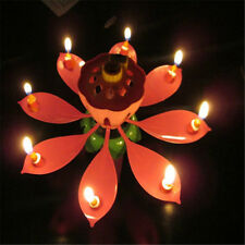 Romantic Musical Lotus Flower Rotating Happy Birthday Party Candle Lights nice