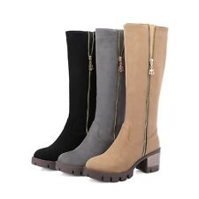 Womens Fashion Suede Zipper Knee High Boots Classical Elegant Heeled Shoes W238