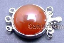 SALE 18mm Round Natural Red Agate Three strands Clasp-gp185