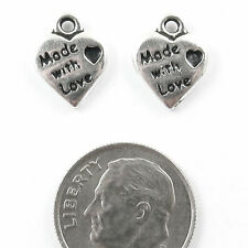 TierraCast Pewter Charms-SILVER MADE WITH LOVE HEART TAG (2)