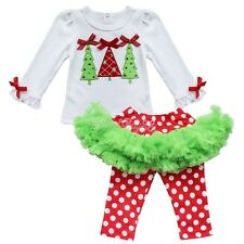 2Pc Baby Kids Girls Outfit Christmas Tree T-Shirt Top+Legging Tutu Pants Clothes