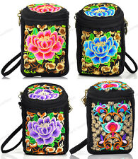 Women's Canvas Small Shoulder Bag Embroidery Phone Pocket Coin Wallet Purse New