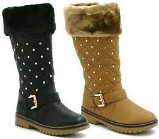 WOMENS DIAMANTE FUR LINED GIRLS CALF QUILTED KNEE HIGH FLAT WINTER SNOW BOOTS