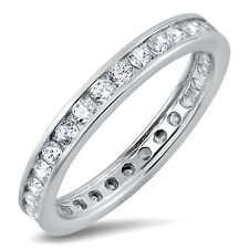 Sterling Silver .925 CZ Channel Set Women's Eternity Wedding Band Ring Size 4-10